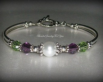 NINE Piece Gift Set: Pearl And Crystal Bangle Bracelet, Bridal Jewelry, Jewelry Bracelet, Bride Jewelry Set, White Pearl Wedding, Bridesmaid