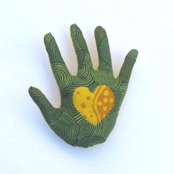Fabric Heart in Hand Brooch Hamsa Pin Ready to Ship