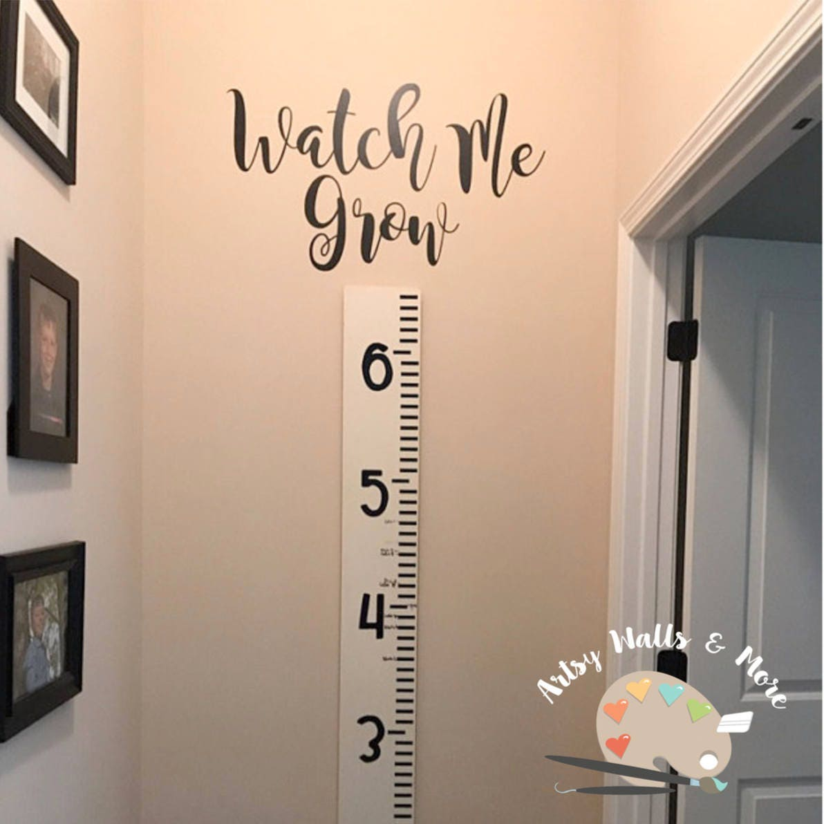 Watch me grow vinyl decal sticker for growth chart ruler add zoom geenschuldenfo Image collections