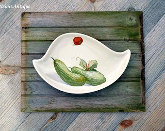 Vintage Sandygate Pottery LTD Made in England Vegetables Decor Small Serving Platter/Tray/Dish/Plate Retro English Serving Tableware