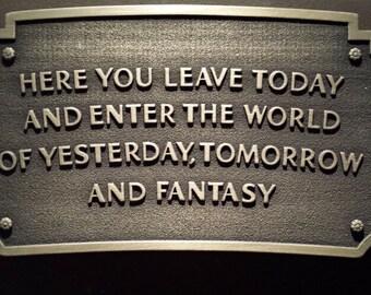 Disneyland entranceway plaque