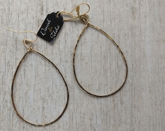 Hammered gold-filled B drop earrings