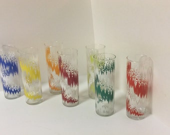 Vintage Set of 7  Libbey Collins, Highball Glasses in Multi Colors