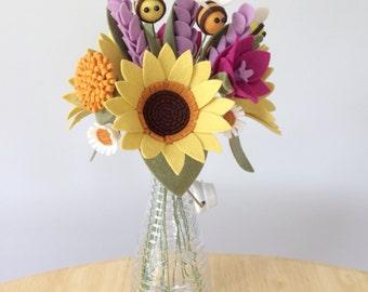 PDF tutorial: DIY Felt Flowers - Sunshine Bee Bouquet (no sew!)