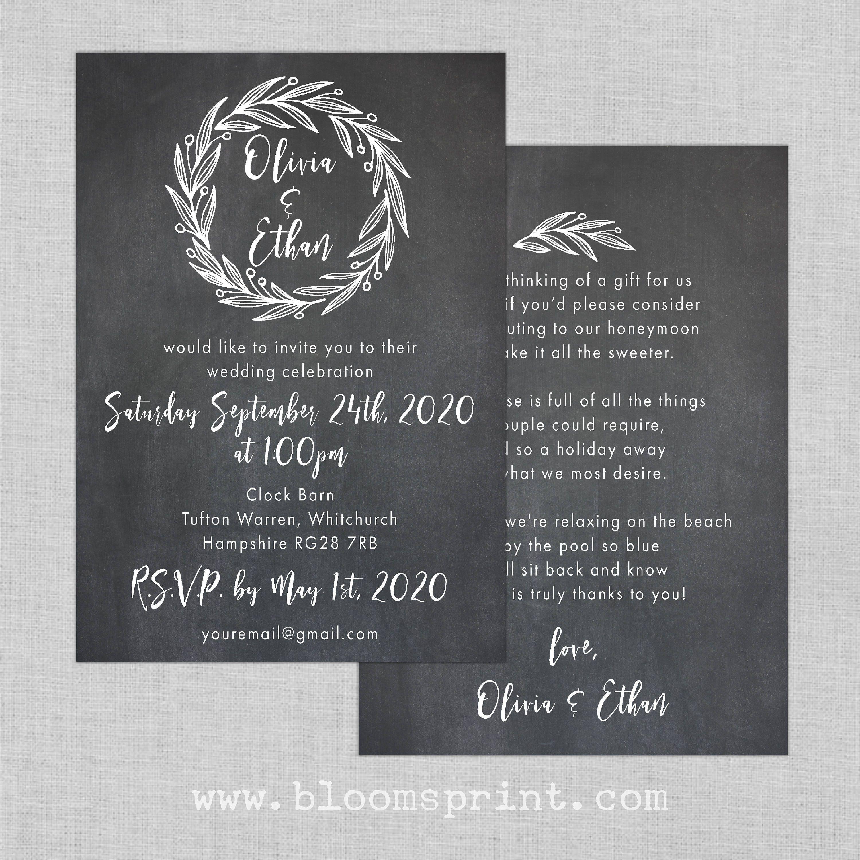 Garden wedding invitation set Rustic wreath wedding invitation