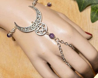 Ornate Crescent Moon & Pentacle Bracelet Ring  with Amethyst Beads.  Pagan Bracelet Ring, perfect for Wiccan, Witch. Slave Bracelet.