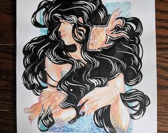 The Siren: Original Watercolor Painting