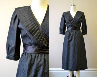 1970s Lanz Black Taffeta Dress
