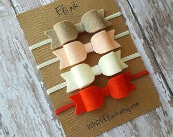 Red bow headband, baby bow headband, felt bow headband, girl bow headband, Newborn headband, baby bow headband set, bow headband