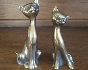 "Brass CATS, Mid Century, 7.75"" & 7"" tall, Vintage"