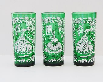 Green Glass Tumblers, Silhouette Glasses, The Gay Nineties, Vintage Victorian Drinking Glasses