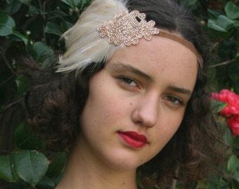 Feather Headpiece 1920s Hair Accessory Flapper Headband, great gatsby fascinator, champagne headband, 1920s headband beige feather wedding