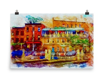 Limited Edition, Thames Street, Abstract, Fells Point, Baltimore, Md. Museum, Quality, Poster Print