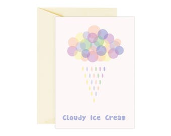 Cloudy ice cream postcard, illustration card, printed postcard, ice cream art