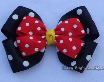 Minnie Mouse Hair Bow~Red Minnie Mouse Bow~Disney Hair Bows~Large Hair Bows~Minnie Mouse Birthday Hair Bow~Toddler Hair Accessories~Hairbow