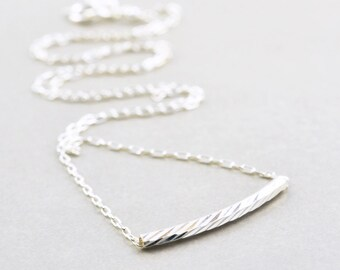 Silver Bar Necklace, Floating Bar Necklace, Minimalistic Metallic Necklace