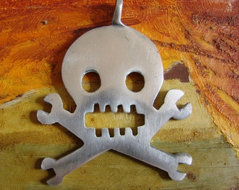 Very Large Vintage Aluminum Skull and Crossed Bones Pendant, Giant Statement Piece, 1990s, Hand fashioned exotic pendant, Gothic death head