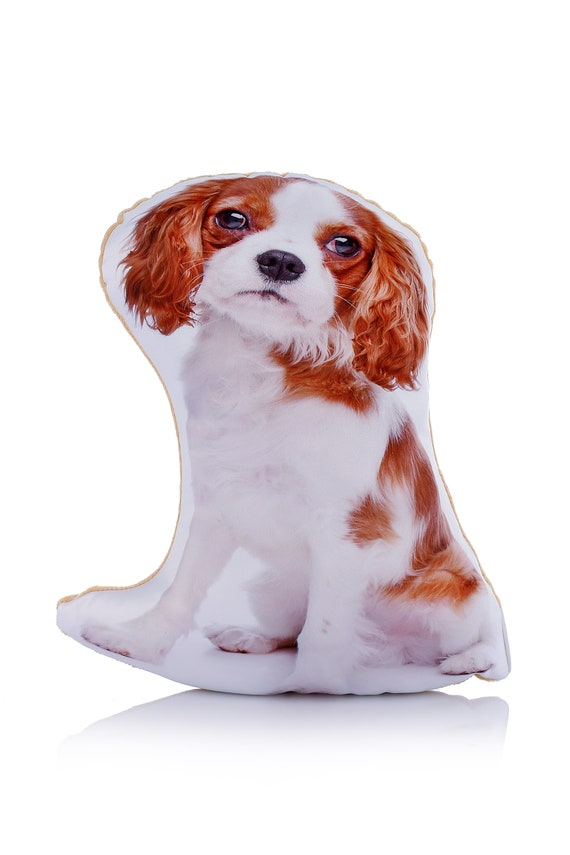 Adorable Blenheim King Charles Cavalier Shaped Midi Cushion[AdorableCushions/Etsy]