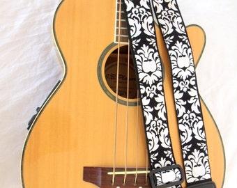 Damask Black and White Guitar Strap
