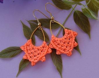 Earrings gold orange coral boho chic