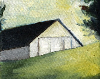 Barn painting white with green grass landscape 8.5x11 Print of original oil by Claire Whitehead