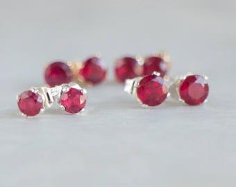 Ruby Ear Studs, Genuine Ruby Studs, July Birthstone, 4 or 5mm, Small Gemstone Ear Studs, Ruby Jewellery, Wife Gift, Christmas Gift