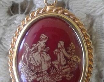 Limoges France Porcelain Courtship Scene Pendant