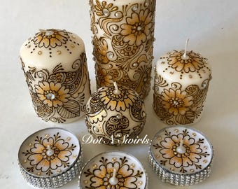 Set of 7,unscented candles/100%henna paste/henna candles/wedding centerpiece/henna paisley/indian decor/wedding centerpiece/eid decor