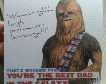 Handmade Chewie Star Wars Father's Day Card - Chewbacca