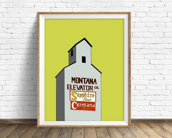 "grain elevator, drawing, art print, large art, large wall art, wall art prints, farmhouse wall art, fine art, art - ""Fergus County Elevator"""