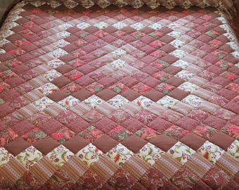 Brown King Size Trip Around the World pieced, hand-quilted Quilt