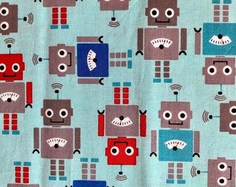 Aqua Robot Cotton Pillowcase