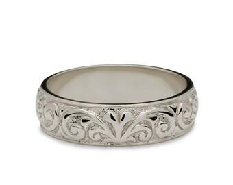 White Gold Engraved Wedding Band - Hand Engraved Wedding Band - Vintage Style Wedding Band - White Gold Wedding Band