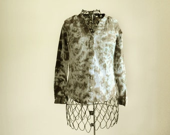 Clearance!  Grayish Brown Tie Dye Blouse-Button Up Shirt-Size Small-Women's Clothing
