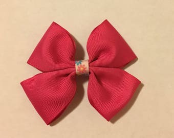 """4"""" Pink Hair Bow with Flower Center"""