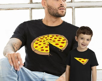 Daddy Dad Son Daughter Matching T shirts Pizza One Slice Missing Family Matching Shirts Outift - SINGLE ITEM -  S to 3XL - Black / White