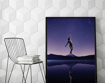 """Surreal collage art, woman art, mixed media collage, purple print, collage print, mountain print, woman wall art - """"Strive for balance""""."""