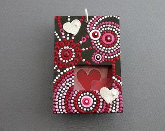 SMaddock OOAK Sterling Silver w/Wood OCD Dots Pendant w/Recycling & Silver Hearts