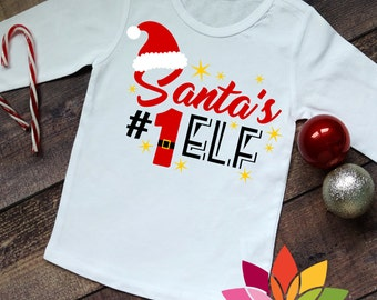 Christmas, Santas #1 Elf, Number One, Santa Hat, Santas Helper, First Christmas Shirt cut file for silhouette cameo and cricut