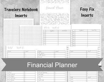 A6 insert TN insert,  undated financial planner insert, budget insert, printable planner insert