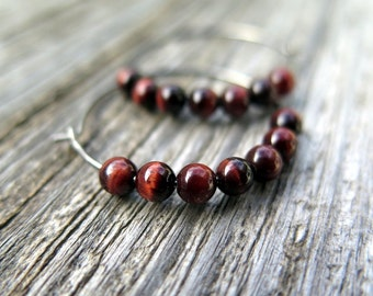dark red earrings. silver hoops. hypoallergenic jewellery. niobium jewelry.