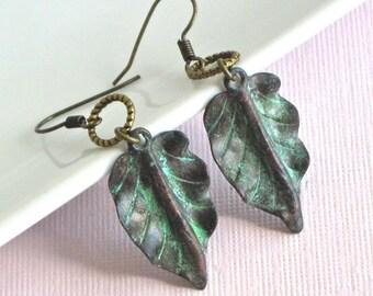 Patina Leaf Earrings - Botanical Jewelry, Leaf Jewelry, Verdigris Jewelry, Botanical Earrings, Brass