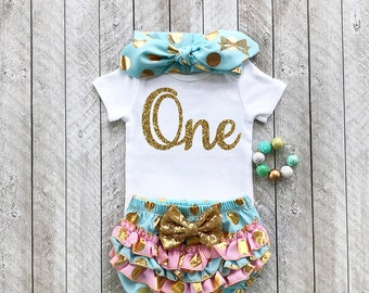 Mint and gold first birthday outfit - One year old outfit - Baby girl first birthday outfit First birthday outfit First year birthday shirt