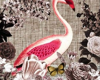 VERY beautiful Flamingo ROSE pattern X 4 paper towel 742