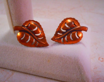 Vintage Copper Leaf Screw Back Earrings
