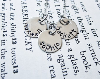 Custom Stamped Mother's Necklace - Personalized with Three Names, Kids, Children - Three Discs, Trio, Triplets