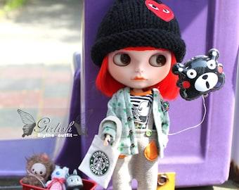 Girlish - Panda Set B for Blythe doll - dress / outfit