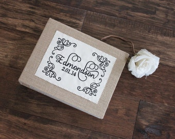 Personalized Burlap Photo Album / Scrapbook - Valentine, Wedding, Bridal Shower, Engagement, Anniversary, Housewarming, Hostess Gift
