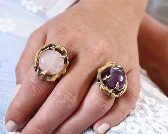 Amethyst ring witch ring boho ring rose quartz ring crystal ring birthstone ring statement ring alternative engagement ring large gold ring