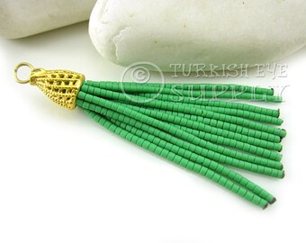 Slender&Short Green Heishi Beaded Tassel, Tassel Earring, Bohemian Tassel Jewelry, Boho Chic Jewelry, Tassel Necklace